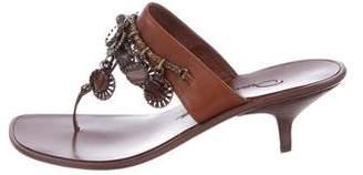 Oscar de la Renta Leather Embellished Sandals