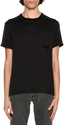 Alexander McQueen Silk Crewneck Pocket T-Shirt Black