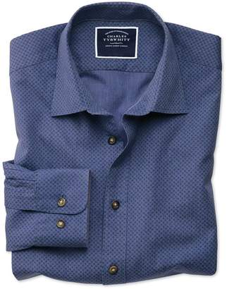 Charles Tyrwhitt Classic Fit Blue Spot Print Cotton Casual Shirt Single Cuff Size Medium