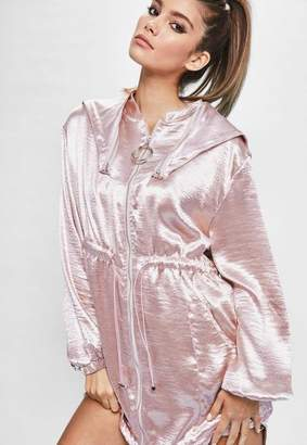 Missguided Londunn + Pink Hammered Satin Duster Jacket