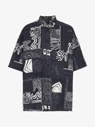 Balenciaga navy oversized short sleeve shirt