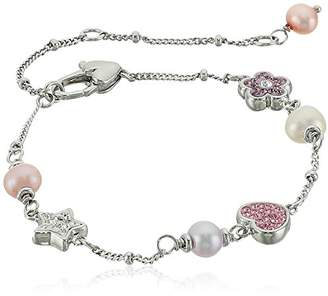 """Honora Girl's"""" Sterling Silver White Freshwater Cultured Pearls with Stationed Crystal Charm Bracelet"""