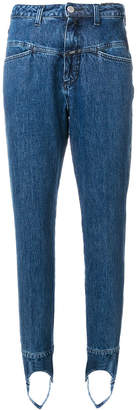 Closed mid-rise tapered jeans