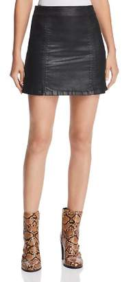 AG Jeans Adaline Coated Denim Mini Skirt in Leatherette Super Black