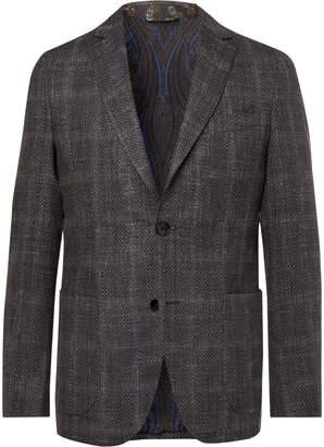 Etro Grey Checked Wool, Silk And Linen-Blend Blazer