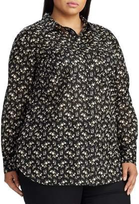 Lauren Ralph Lauren Plus Straight-Fit Floral Cotton Shirt