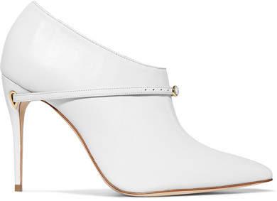 Jennifer Chamandi - Fausto Leather Ankle Boots - White