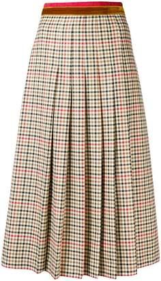 Gucci pleated check midi skirt