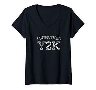 Womens I Survived Y2K Survivor Year 2000 Funny Graphic V-Neck T-Shirt