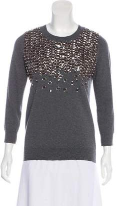 Lela Rose Wool Embellished Sweater