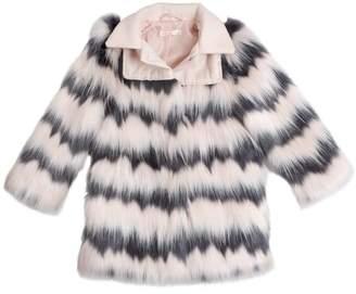 Billieblush Striped Faux Fur Coat