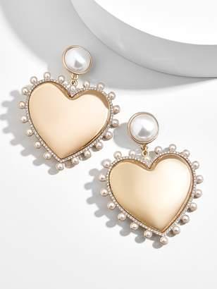 BaubleBar Amalia Pearl Heart Drop Earrings