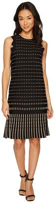 Catherine Malandrino Sleeveless Crew Neck Knit Dress w/ Lettuce Trim Women's Dress