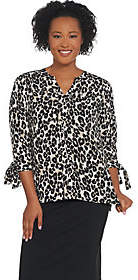 Joan Rivers Classics Collection Joan Rivers Pullover Silky Blouse with TieSleeves