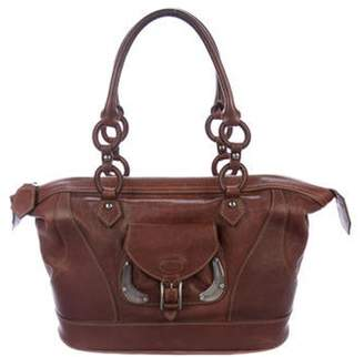 Tod's Grained Leather Tote Brown Grained Leather Tote