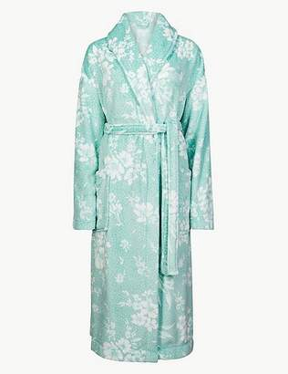 Marks and Spencer Fleece Floral Print Dressing Gown with Belt