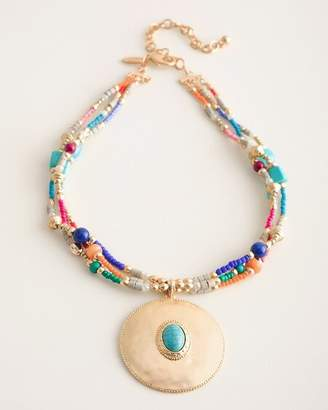 Chico's Chicos Short Multi-Colored Seed Bead Pendant Necklace