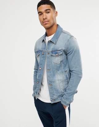 Asos DESIGN skinny denim jacket in mid wash