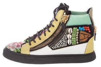 Giuseppe Zanotti Leather Embellished High-Top Sneakers