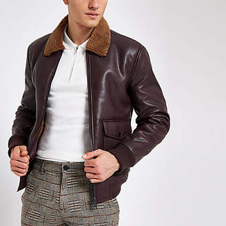 River Island Burgundy fleece collar jacket