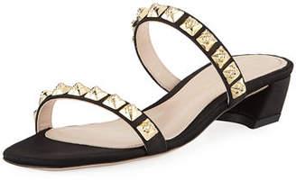 Stuart Weitzman Stella Studded Two-Band Block-Heel Sandal