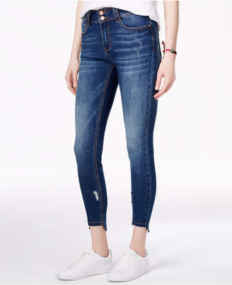 Indigo Rein Juniors' Ripped Stair Step Hem Ankle Jeans $49 thestylecure.com