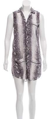 Equipment Snakeskin Print Silk Mini Dress