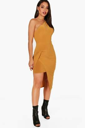boohoo Alexandra Slinky One Shoulder Midi Dress