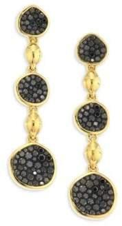 Black Diamond Pleve Pebble Black Diamond& 18K Yellow Gold Triple Drop Earrings