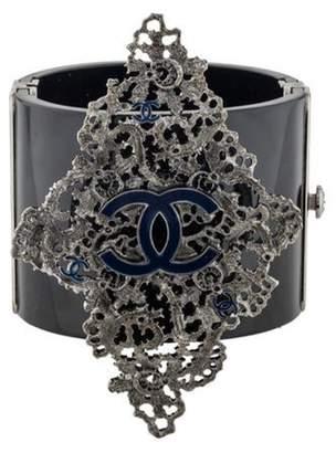 Chanel CC Filigree, Enamel & Resin Cuff black CC Filigree, Enamel & Resin Cuff