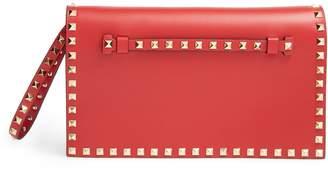 Valentino Rockstud Leather Flap Clutch