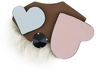 Marni heart furry brooch