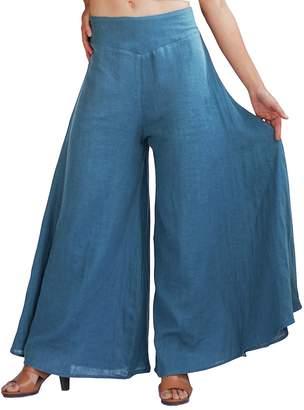 Aivtalk Women's Cotton Palazzo Lounge Casual Elastic Waist Solid Color Plus Size Culotte Wide Leg Pants M