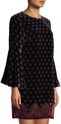 Trina Turk Astral Bell-Sleeve Velvet Dress