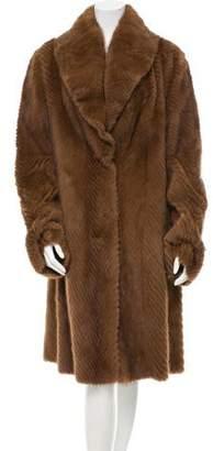 Giuliana Teso Chevron Knit Mink Coat