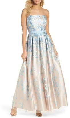 Eliza J Floral Embroidered Box Pleat Ballgown