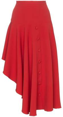Matériel asymmetric button detail midi skirt