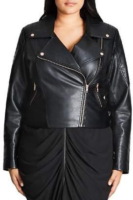 City Chic Plus Faux Leather Moto Jacket