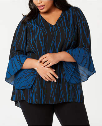 Alfani Plus Size Printed Flutter-Sleeve Top