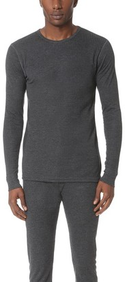 Sunspel Thermal Long Sleeve Crew Neck Shirt $85 thestylecure.com