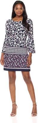 Eliza J Women's Bell Sleeve Shift Dress, Navy/Pink