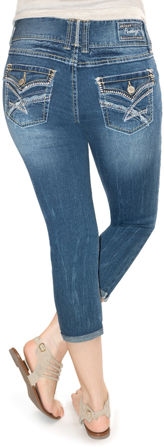 Bethany Mid-Rise Triple Button Carpi Jeans