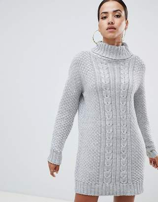 AX Paris cable knit high neck sweater dress
