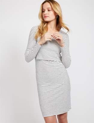 b07d2cdbf1f32 A Pea in the Pod Striped Rib Knit Lift Up Nursing Dress