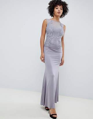 AX Paris racer neck maxi dress with lace detail