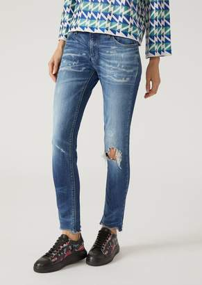 Emporio Armani J28 Super Skinny Jeans With Rips