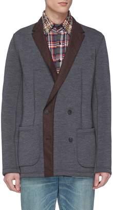 Kolor Contrast lapel double breasted jersey soft blazer