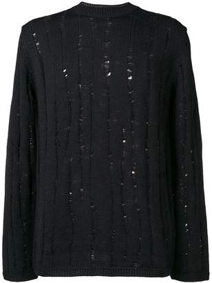 Comme des Garcons ribbed knit distressed jumper