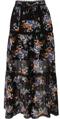 River IslandRiver Island Womens Black chiffon floral print tiered maxi skirt
