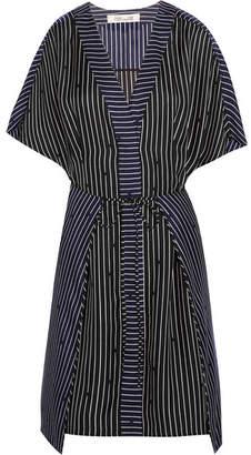 Diane von Furstenberg Striped Silk Mini Dress - Black